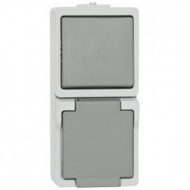 Wechsel - Schalter / Steckdose Kombi, Aufputz, Feuchtraum, senkrecht, IP44, grau