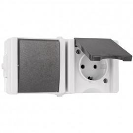 Kombi Wechsel - Schalter / Steckdose, waagrecht, Aufputz,IP44, Kopp
