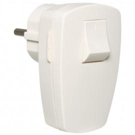 Schutzkontakt Duroplast Winkelstecker mit Wippschalter, weiß