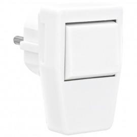 Schutzkontakt Thermoplast Winkelstecker mit Wippschalter,16A, reinweiß