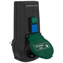 FI Schutzadapter, 16A / 0,03, IP44 1 Schutzkontakt Steckdose mit Klappdeckel