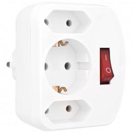 Mehrfachstecker Schutzkontaktstecker Adapter, 3 fach, mit Schalter, weiß