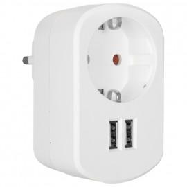 Schutzkontaktstecker Adapter, 2 x USB Ladesteckdosen für IT Geräte, max. 2100 mA