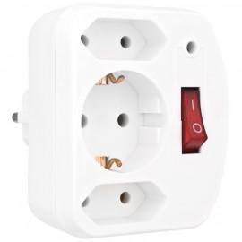 Überspannungsschutz Adapter, mit Schalter, weiß