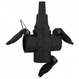 Gummi Mehrwegekupplung, 3-fach, IP44, schwarz mit Deckel und Schnappwulst