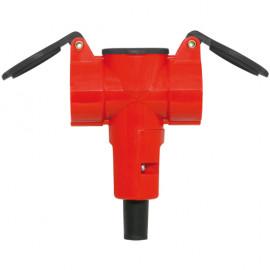 3 fach Schutzkontakt Kupplung, 1,5V,  rot/schwarz, IP20 mit Klappdeckel
