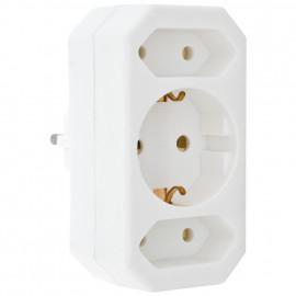 Mehrfachstecker Schutzkontaktstecker Adapter, 3 fach, weiß