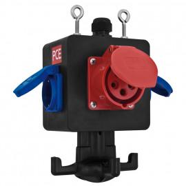 Gummi CEE Hängeverteiler, rot/blau//schwarz, Griffhaken und Aufhängevorrichtung - PCE