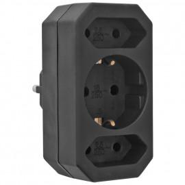 Mehrfachstecker Schutzkontaktstecker Adapter, 3 fach, schwarz