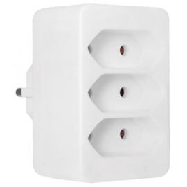 Mehrfachstecker Schutzkontaktstecker Adapter, mit 3 Eurosteckdosen, weiß
