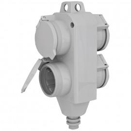 4 fach Schutzkontakt Kupplung, grau, IP54 mit Klappdeckeln und Aufhängeöse