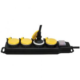 Steckdosenleiste, 4 fach, 3 x 1,5²mm, 1,5 m, IP44, schwarz/gelb, mit Schalter