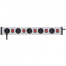 Steckdosenleiste, 5 fach, 3 x 1,5²mm, 1,5 m, mit Kinderschutz grau / schwarz mit 5 Schaltern