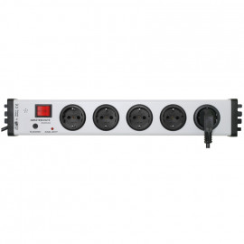 Steckdosenleiste, 5 fach, 3 x 1,5²mm, 1,5 m, grau/schwarz, mit Signal  und Schalter