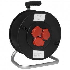 Kabeltrommel mit 3 Schutzkontakt Steckdosen mit Klappdeckel, leer für 50 m Kabel
