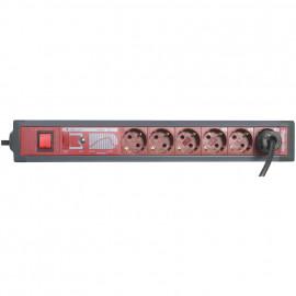 Funktions Steckdosenleiste, 6 fach, 3 x 1,5²mm, 3 m, anthrazid / rot, mit Schalter