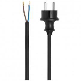Gummi Anschlussleitung, H07RN-F, 2 x 1²mm, 3 m, schwarz für Elektrowerkzeuge