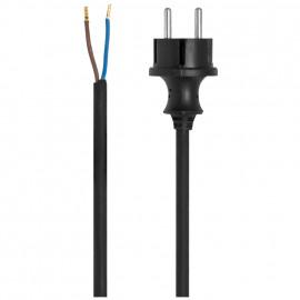 Gummi Anschlussleitung, H07RN-F, 2 x 1²mm, 5 m, schwarz für Elektrowerkzeuge