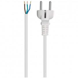 Anschlußzuleitung, H03 VV-F, 3 x 0,75², 2 m, weiß mit Schutzkontakt Stecker