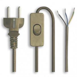 Anschlusszuleitung, H03 VV-F, 3 x 0,75²mm, 2 m, gold, gold mit Zwischenschalter