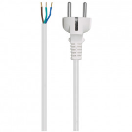 Anschlusszuleitung, H05 VV-F, 3 x 1²mm, 2 m, weiß mit Schutzkontakt Stecker