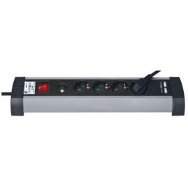 Funktions Steckdosenleiste, 4 fach, 3 x 1,5²mm, 1,5 m, schwarz mit Schalter Kinderschutz