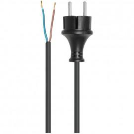 Anschlusszuleitung, H05 VV-F, 2 x 1²mm, 5 m, schwarz mit Konturenstecker