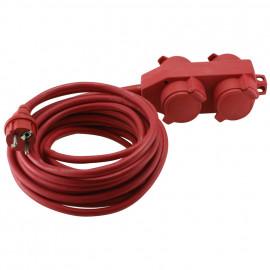 Schutzkontakt Gummi Verlängerung, H07 RN-F 3G x 1,5², 10 m, rot, mit 4 fach Kupplung