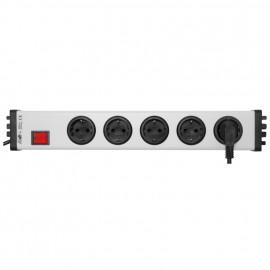 Steckdosenleiste, 5 fach, 3 x 1,5²mm, 1,5 m, mit Kinderschutz grau / schwarz mit Schalter