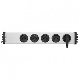 Steckdosenleiste, 5 fach, 3 x 1,5²mm, 1,5 m, mit Kinderschutz grau / schwarz Länge 480mm