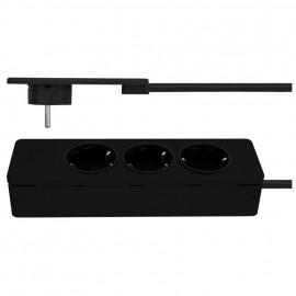 Tischsteckdose, 3 fach, EVOLINE, 3 x 1,5²mm, 1,5 m, schwarz SUPERFLACH