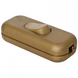 Schnur Zwischenschalter, 1 polig, mit N Klemme, gold, 2 x 0,75 mm²