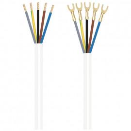 Herdanschlussleitung, 5 x 1,5²mm H05 VV-F, 1,5 m, weiß, einseitig Gabelkabelschuhe