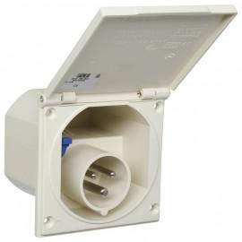 CEE Caravan Einbaustecker, 3-polig, 16A/230V, IP44 spritzwassergeschützt