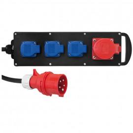Gummi CEE Blockverteiler Einspeisung über 2 m CEE-Anschlussleitung H07 RN-F 5 x 2,5² - PCE