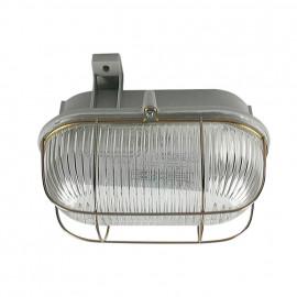 Kellerleuchten Ovalleuchte, 1 x E27 / 100W grau Strukturglas