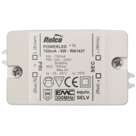 LED Netzteil, 6W / 8V-DC / 700mA Relco