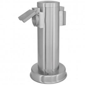 Steckdosensäule, 2 Steckdosen Edelstahl Höhe 260mm, Breite 130mm