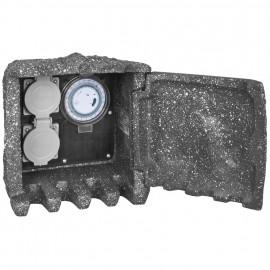 Steckdosenverteiler mit Tür, 2 Steckdosen 230V / 16A, mit mechanischer 24-Std.- Zeitschaltuhr