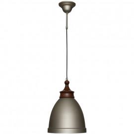 Pendelleuchte, Wohnraumleuchten 1 x E27 / 60W Metall grau dunkles Holz