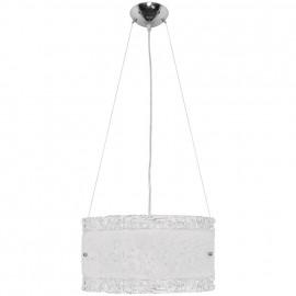 Pendelleuchte, Wohnraumleuchten 1 x E27 / 75W Metall weiß Muranoglas klar / weiß