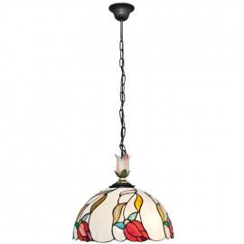 TIFFANY Pendelleuchte, 1 x E27 / 100W Glas Tiffany Blumenmuster