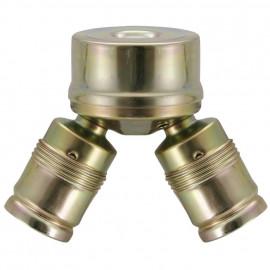 Lampen Metalldoppelarmatur E27, 2 x E27, vermessingt