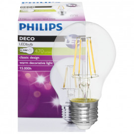 LED Fadenlampe, AGL, E27 / 4,3W, klar, 470 lm, Philips