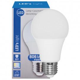 LED Lampe, AGL E27 / 9W, opal, 806 lm, 2700K LED´s light