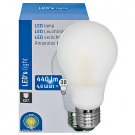 LED Lampe, AGL E27 / 4,8W, opal, 440 lm, 3000K LED´s light