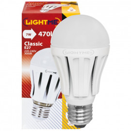 LED Lampe, AG LED CLASSIC, E27 / 7W, opal, 470 lm, 3000K LightMe