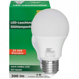 LED-Lampe, AGL-Form, E27/4W, satiniert, 300 lm, 2700K TS Electronic