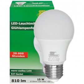 LED Lampe, AG LED CLASSIC, E27 / 10W, satiniert, 810 lm, 2700K TS Electronic