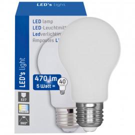 LED Lampe, AGL GLASKOLBEN, 360°, E27 / 5W, opal, 470 lm, 2700K LED´s light